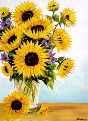 Sunflowers with white Vase