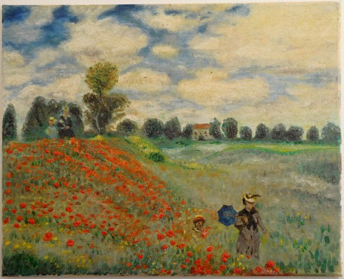 Poppies Blooming from Claude Monet. Hand-Painted Art Reproduction with Oil on Canvas